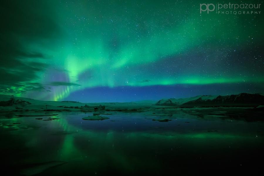 Jökulsárlón a polární záře