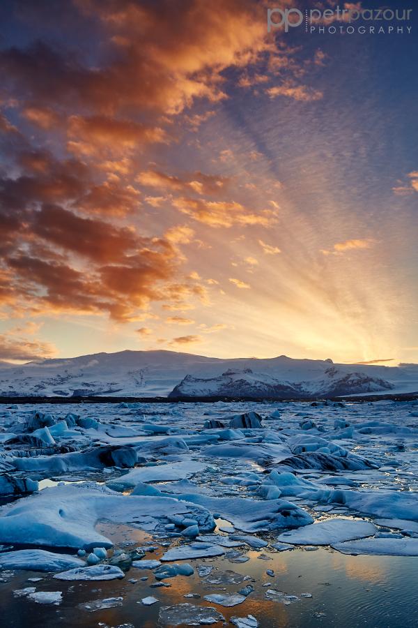 Západ slunce v Jökulsárlónu